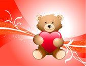 Oyuncak ayı ve kırmızı bir arka plan — Stok Vektör