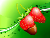 Strawberry on Green Background — Stock Vector