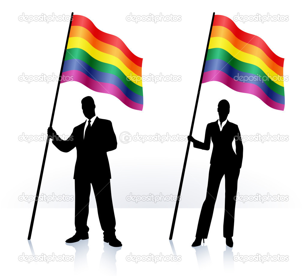 depositphotos 6030077 Business silhouettes with waving flag of Gay Pride (meet Unity from the Spandex crew. Yes, it is a tail, but he's still pleased ...