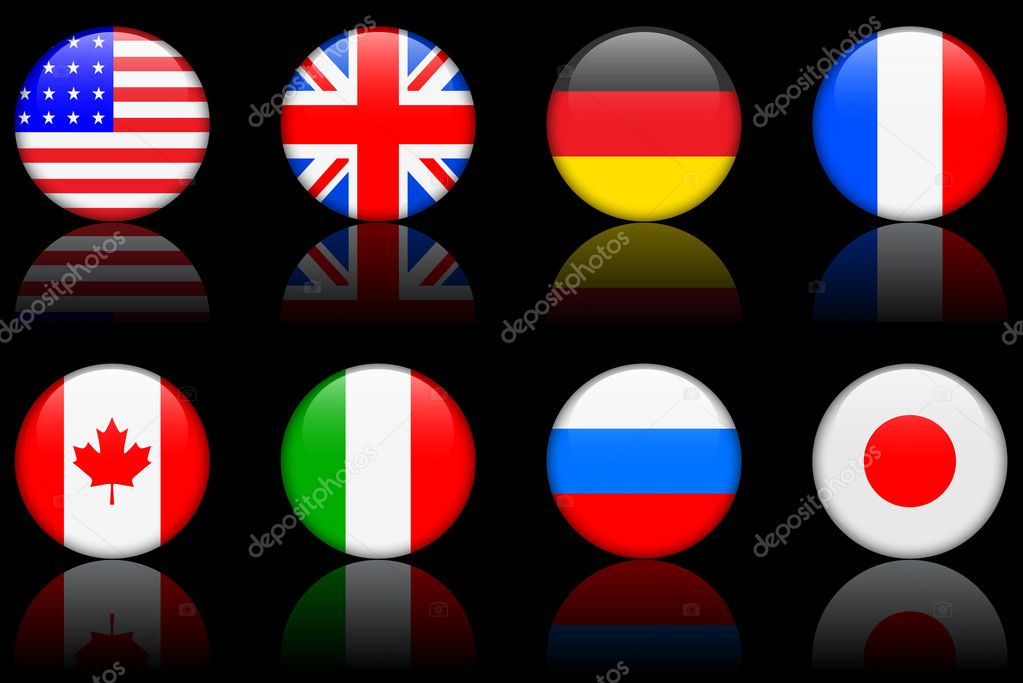 Flags: original vector illustration: world flag series g8 countries