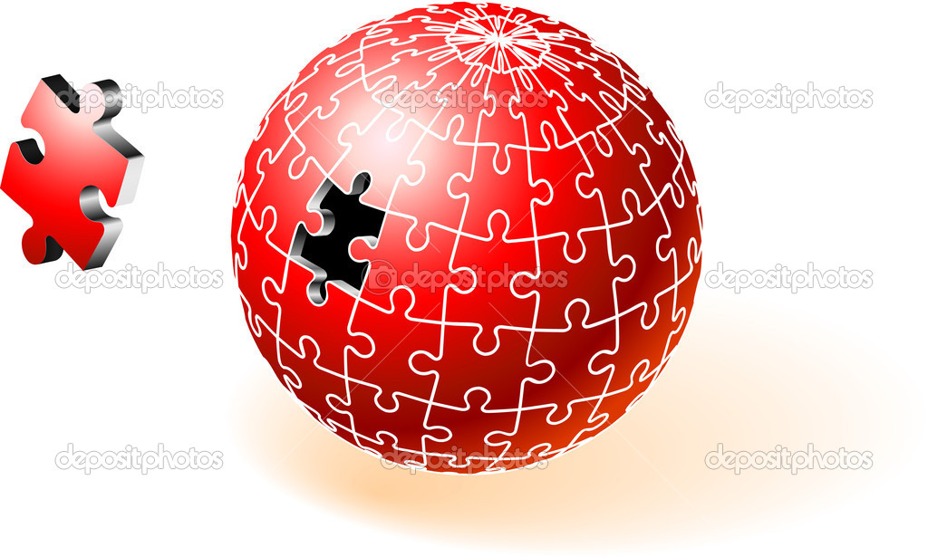 Incomplete Red Globe PuzzleOriginal Vector IllustrationIncomplete Globe Puzzle Ideal for Unity Concept — Stock Vector #6031116