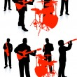 Live band playing music on white background - Stok Vektör