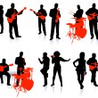 Постер, плакат: Music group with singers and instruments on white background
