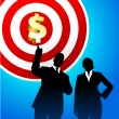 Target profits background with business executives - Image vectorielle