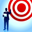 Target profits background with business executives - Векторная иллюстрация