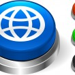 Globe Icon on Internet Button — Stock Vector