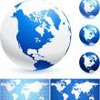 Globes en wereldkaarten — Stockvector