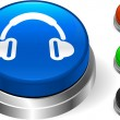 Headphone icons on internet button — Stock Vector