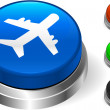 Airplane Icon on Internet Button — Stock Vector