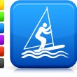 Stick figure sailing icon on square internet button — Stock Vector