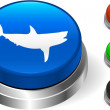 Shark icn on internet button — Stock Vector