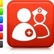 Medical staff  icon on square internet button — Imagen vectorial