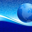 Business Globe on blue background — Image vectorielle