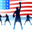Stock Vector: Americpatriotic boxing background
