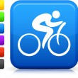 Cycling icon on square internet button - Stock Vector