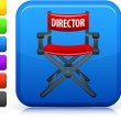 Directors chair icon on square internet button - Stock Vector