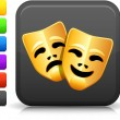 Royalty-Free Stock Vector Image: Comedy and tragedy masks icon on square internet button