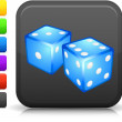 Gambling dice icon on square internet button - Stock Vector
