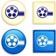 Film Reel on Stamp and Button — Stock Vector