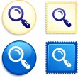 Royalty-Free Stock Vector Image: Magnifying Glass on Stamp and Button