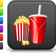 Royalty-Free Stock Vector Image: Popcorn and soda icon on square internet button
