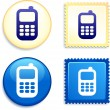 Royalty-Free Stock Vector Image: Cell Phone on Stamp and Button