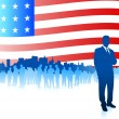 Business team on Patriotic American Flag background — Vector de stock  #6087078