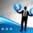 Young business man silhouette with currency symbols - Stock Vector