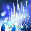 Royalty-Free Stock Vector Image: Globes on fiber optic internet background