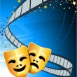 Vector de stock : Comedy and tragedy theater masks background