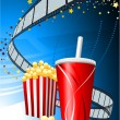 Popcorn and cup of soda on film background — Stock Vector