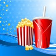 Popcorn and cup of soda on film background — 图库矢量图片