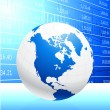 Business Globe on blue background — Imagen vectorial