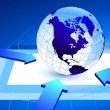 Globe on blue internet background with arrows pointing — Image vectorielle