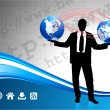 Businessman with globes on corporate elegance background — Vector de stock