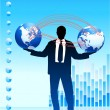 Businessman with globes on corporate elegance background — 图库矢量图片