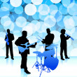Live music band on lens flare internet background — Stock Vector