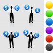 Young business man silhouettes with currency symbols - Vektorgrafik