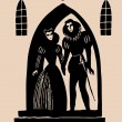 Romeo And Juliet secret alter etching - Stock Vector