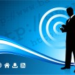 Wireless internet background with modern businessman — Image vectorielle