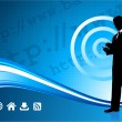 Wireless internet background with modern businessman — 图库矢量图片