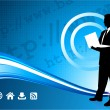 Wireless internet background with modern businessman — Stock Vector