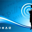 Wireless internet background with modern businesswoman — Image vectorielle