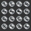 Stock Vector: Transportation Icons on Metal Internet Buttons