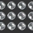 Stock Vector: Religious Cross Icons on Metal Internet Buttons