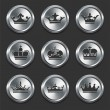Royalty-Free Stock Vector Image: Crown Icons on Metal Internet Buttons