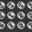 Royalty-Free Stock Vector Image: Environment Icons on Metal Internet Buttons