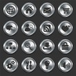 Internet Icons on Metal Buttons — Stock Vector