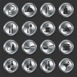 Food Icons on Metal Internet Buttons — Stock Vector