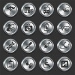 Hospital Icons on Metal Internet Buttons — Stock Vector